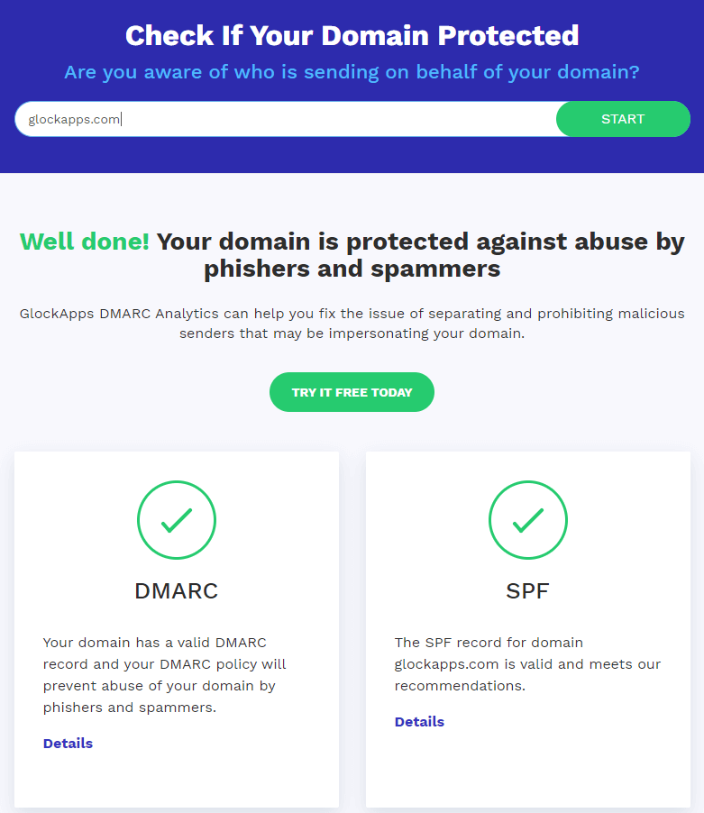 GlockApps domain checker instantly checks DMARC and SPF authentication for the domain