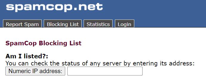 IP blacklist check at SpamCop